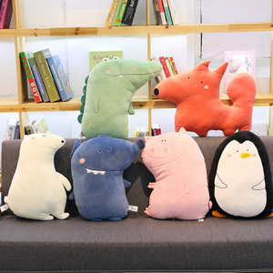 48-52 cm Plush Animal Fox Penguin Pig Wolf Bear Cushion Toys Sofa & Chair Pillow For Children Family Drop Shipping Available
