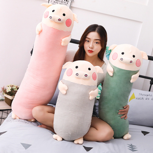70/90/100cm Soft Sleeping Pig Plush Toy Stuffed Animal Pig Long Pillow for Kids Appease Toy Baby's Room Decoration